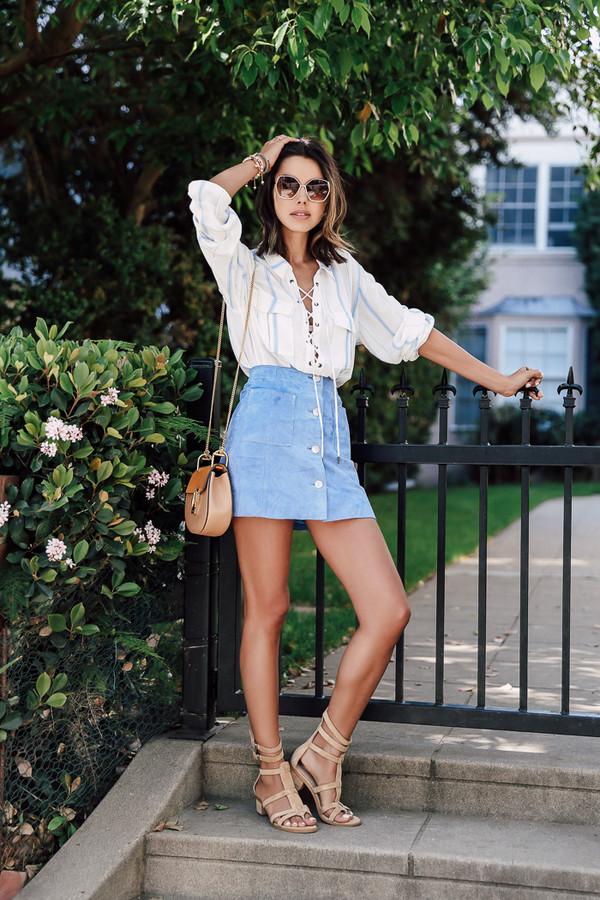 viva luxury blogger shoes blouse sunglasses jewels white blouse lace up denim skirt mini bag nude sandals blue suede skirt