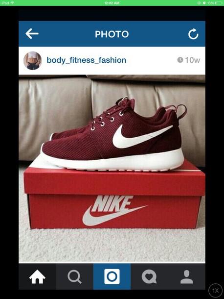 shoes burgundy roshes