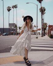 dress,polka dots,white dress,polka dots dress,shoes,hat,black hats,sunglasses