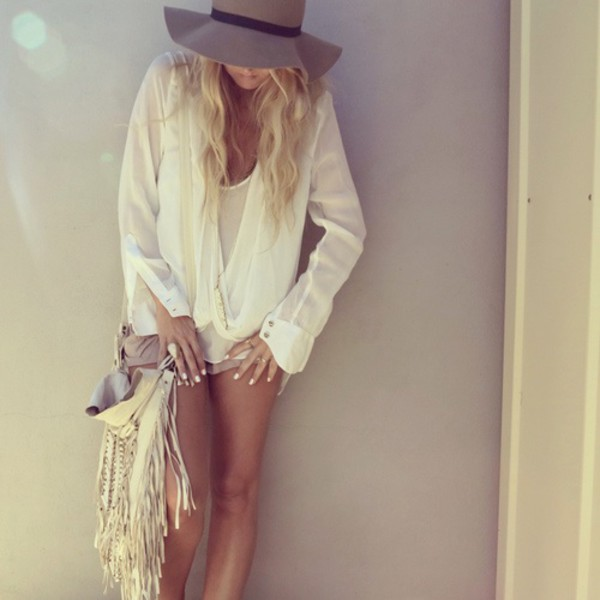 blouse hat white bag