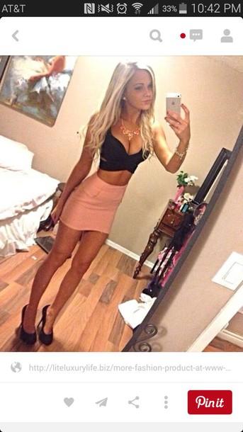 skirt black crop top