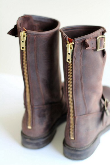 boots brown brown shoes brown leather boots zipper