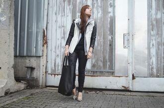 pants leather jacket tote bag black vest zebra print pumps h&m h&m fashion against aids
