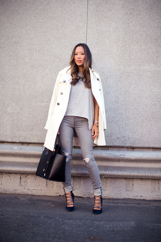 song of style coat t-shirt jeans shoes bag