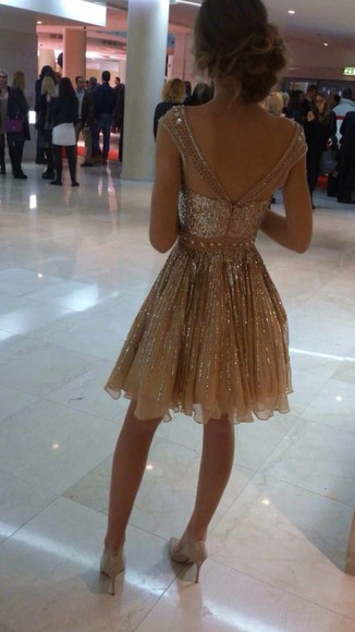 dress gold sequins prom dress gold