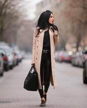 coat,tumblr,camel,camel coat,camel long coat,long coat,sweater,black sweater,pants,black pants,black leather pants,leather pants,belt,double buckle belt,bag,black bag,sneakers