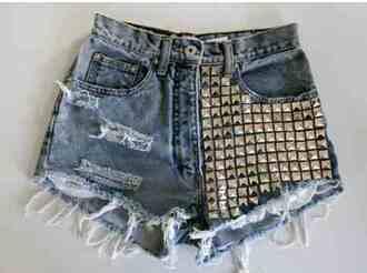 shorts studded shorts denim distressed denim shorts