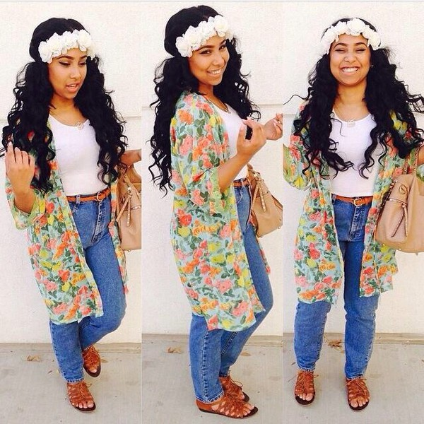cardigan flowers floral headband jeans sandals hat