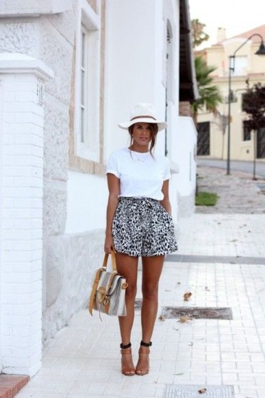 shoes white shorts black summer patterned short