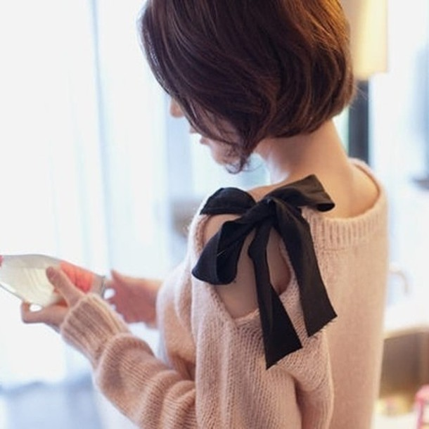 sweater bow feminine oversized sweater knitted sweater black ribbon ribbon pink sweater bow pink sweater pullover fashion clothes shirt top pink black bow bows blouse cute sweaters bow top