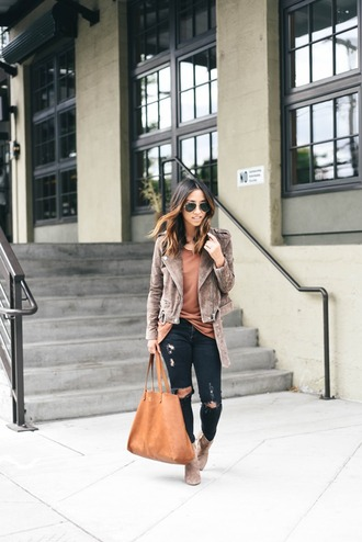 crystalin marie blogger tank top jeans shoes bag ripped jeans black jeans brown bag suede jacket skinny jeans blue jeans grey jacket suede bag handbag brown top sunglasses fall colors aviator sunglasses boots camel boots