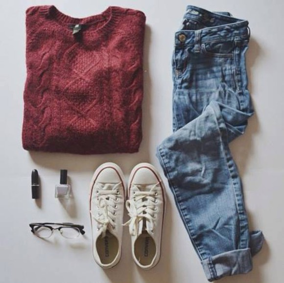 denim converse jeans sweater style fashion sunglasses jullnard red nail polish winter sweater winter outfits