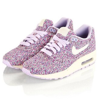 shoes nike air max purple pink dots flowers
