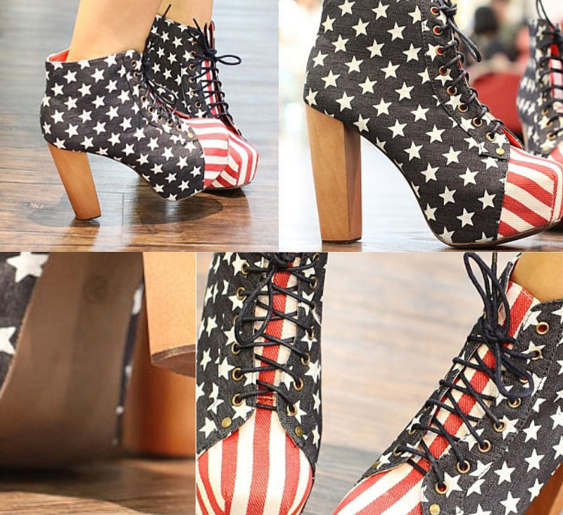 New Vintage Women's Shoes USA Stars Flag Platform High Heels Ankle Boots Shoes-in Boots from Shoes on Aliexpress.com