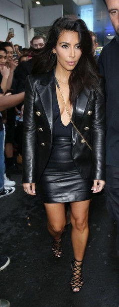 Jacket: kim kardashian, all black everything, skirt, leather ...
