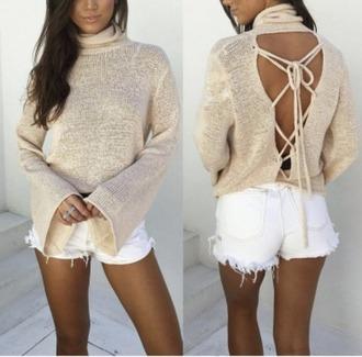 sweater girl girly girly wishlist turtleneck nude lace up backless turtleneck sweater
