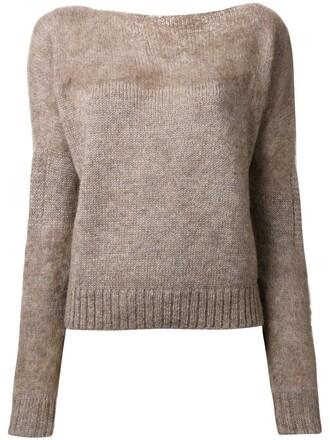 jumper women mohair wool brown sweater