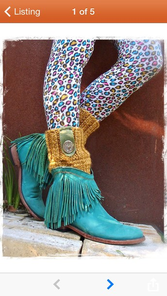 Shoes: cowboy boots, boots, fringes, turquoise, winter outfits ...