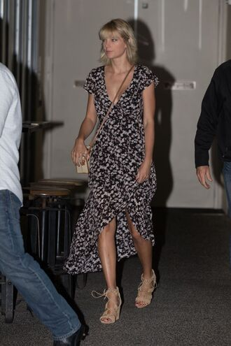 dress taylor swift summer dress summer outfits sandals wrap dress shoes midi dress