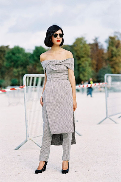 vanessa jackman blogger top off the shoulder dress grey