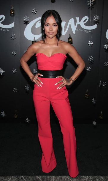 jumpsuit red red pants karrueche strapless belt