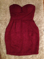 dress,jaquard,strapless,burgundy,wine red,pattern
