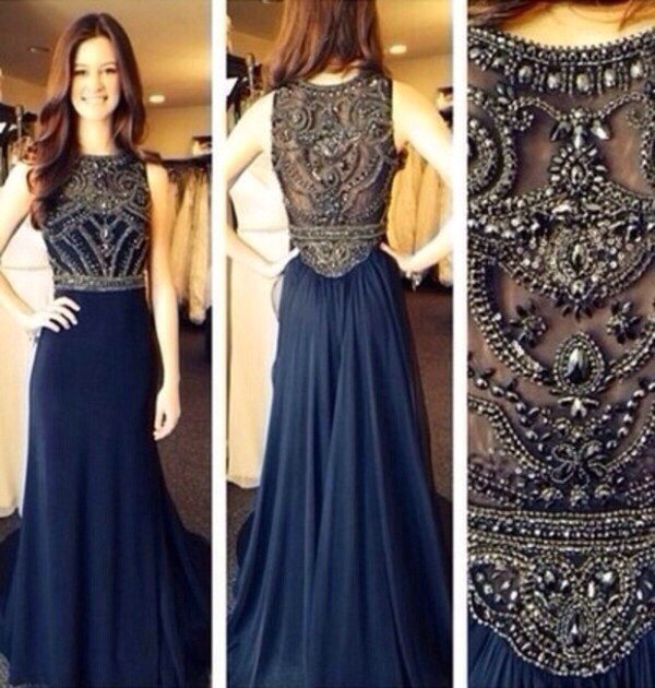 Aliexpress.com : Buy High Quality Navy Blue Evening Dresses 2014 Gorgeous Sleeveless Crystal Beaded Chiffon Long Prom Dress from Reliable dress ballroom suppliers on 27 Dress