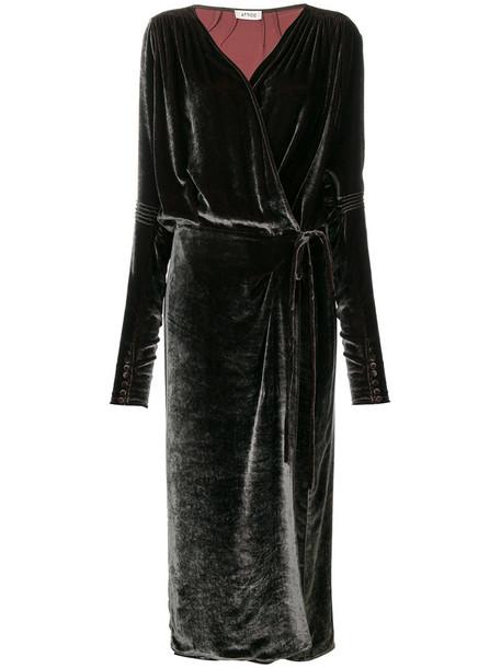 Attico dress wrap dress long women silk grey