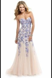 dress,mermaid fit,prom dress,mermaid prom dress,blue,white,flowers,white dress,floral dress,formal dress,fashion,wedding dress