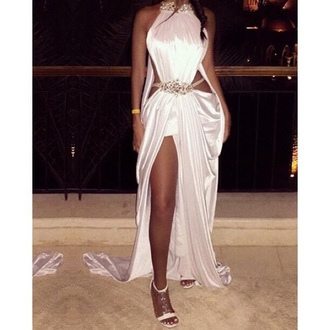 dress white white dress prom dress prom sexy sexy dress sexy party dresses fashion formal dress formal gown prom gown maxi dress style jewels diamonds