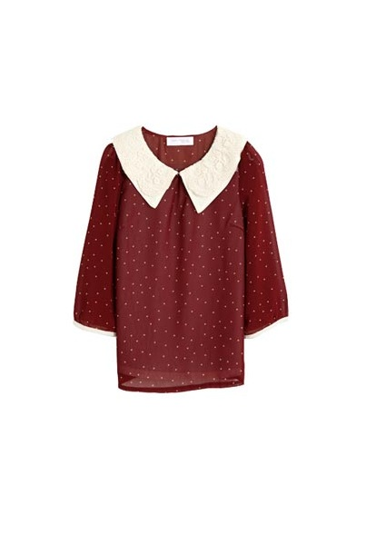 (TOLLS1244) Burgundy Dotted Blouse, iAnyWear