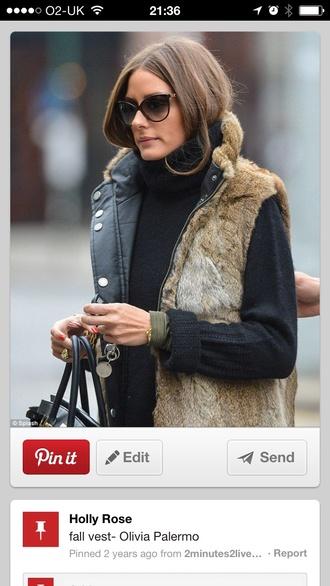 olivia palermo faux fur vest
