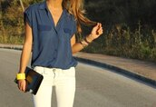 blouse,clothes,short sleeve,pockets,jeanse,jeans,white,heels,purse,bracelets,button up blouse,button down shirt,rolled sleeves,sunglasses