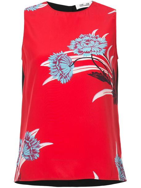 Dvf Diane Von Furstenberg women print silk red top