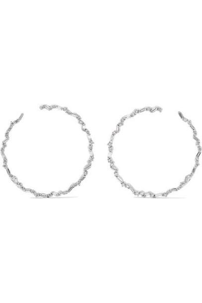 Suzanne Kalan - 30mm 18-karat White Gold Diamond Hoop Earrings