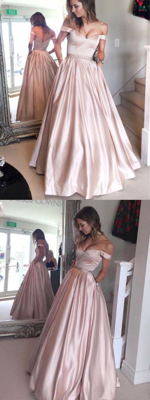 a7d72825f16d7 Elegant Off shoulder Floor Length Satin Prom Dress