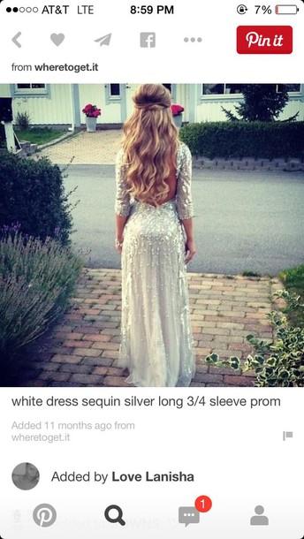 dress white sequin 3/4 sleeve