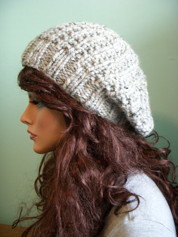 Slouchy Knit Hat Pale Gray Tweed Beret Knit Slouch by shelby1998 67e50870ca9
