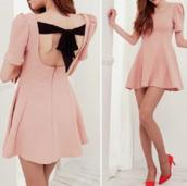 dress,bow,black,beige,pink