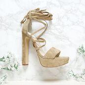shoes,windsor smith,peppermayo,sand heels,sand suede,beige suede,beige heels,nude heels,nude suede,nude,beige,heels,tie up
