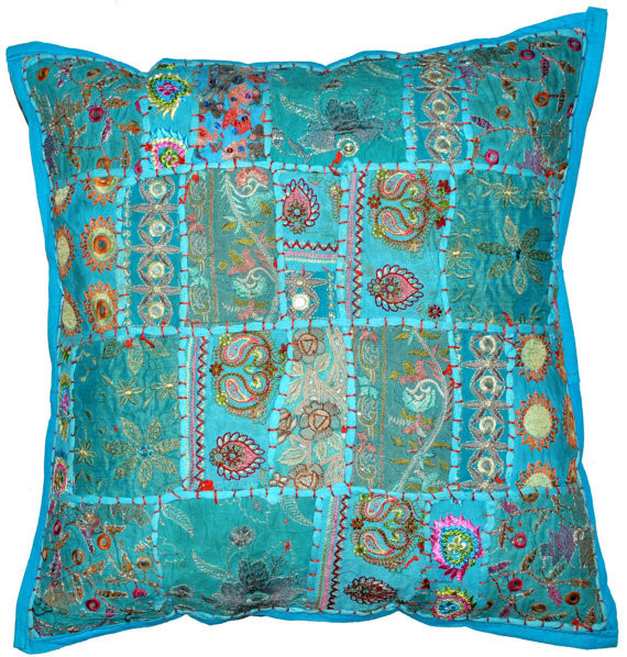 Xl Throw Pillows : 20X20 XL Blue Tribal accent throw pillow, Patchwork Handmade Indian Ethnic cottage Pillow, floor ...