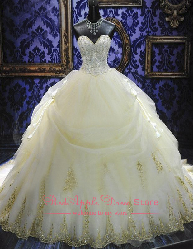 Extravagant Cathedral Train Long Chiffon with Beading Wedding Dresses 2014 Luxury Sweetheart vestidos de noivas Custom Made-in Wedding Dresses from Apparel & Accessories on Aliexpress.com