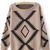 Khaki Long Sleeve Geometric Print Pullovers Sweater - Sheinside.com