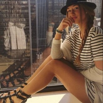 sandals gladiators t-shirt ootd outfit shirt dress dress stripes striped dress striped shirt striped tee black sandals indie boho grunge hipster tumblr instagram fedora hat sweater cardigan new york city dope bracelets jewelry t-shirt dress tshirt dress