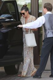 shoes,flip-flops,maxi dress,summer outfits,lea michele,streetstyle