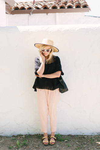 pants top pink pants black top hat straw hat sunglasses white sunglasses sandals nude sandals flat sandals