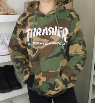 jacket camouflage thrasher hoodie green