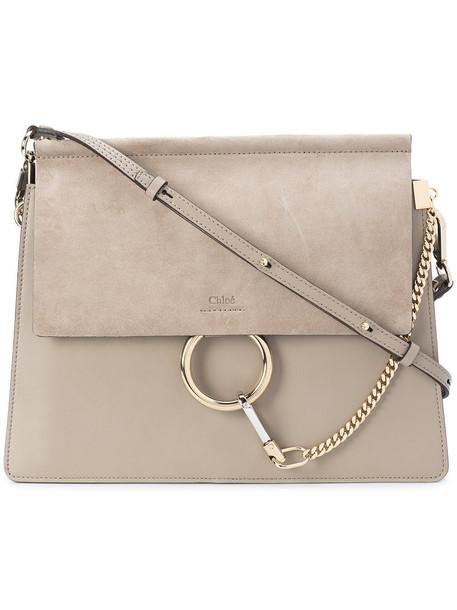 Chloe women bag shoulder bag leather suede grey