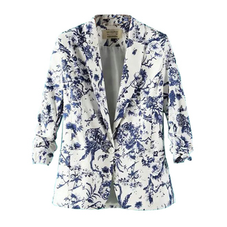 jacket floral print floral jacket single button blazer spring outfits musthave blue jacket stylish