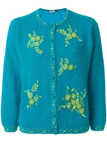 Prada cardigan cardigan embroidered women floral blue silk sweater